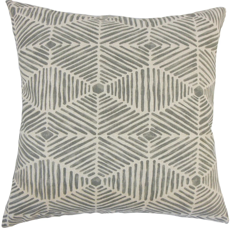 iakovos geometric 24 x 24 feather throw pillow grey