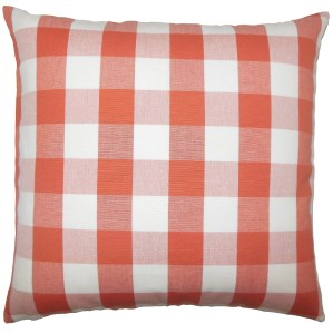 Nelson Plaid 24-inch  Feather Throw Pillow - Papaya