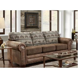 sofa sleeper for cabin children s settee 2 buy round arms lodge sofas couches online at overstock american furniture classics deer teal tapestry
