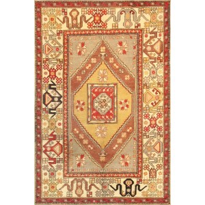 Pasargad Vintage Oushak Collection Hand-knotted Tan/Ivory Wool Area Rug (5' 7 X 8' 9)
