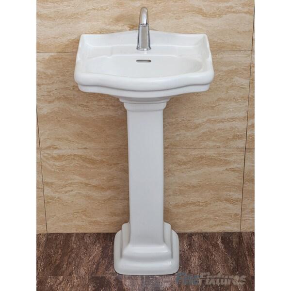 fine fixtures roosevelt white pedestal sink vitreous china ceramic material single hole