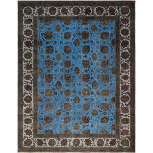 Noori Rug Blue and Brown Wool Distressed Overdyed Area Rug (9'9 x 12'7)