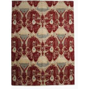 Fourin Red/Beige Wool Ikat Hand-knotted Area Rug (9' x 12'4)