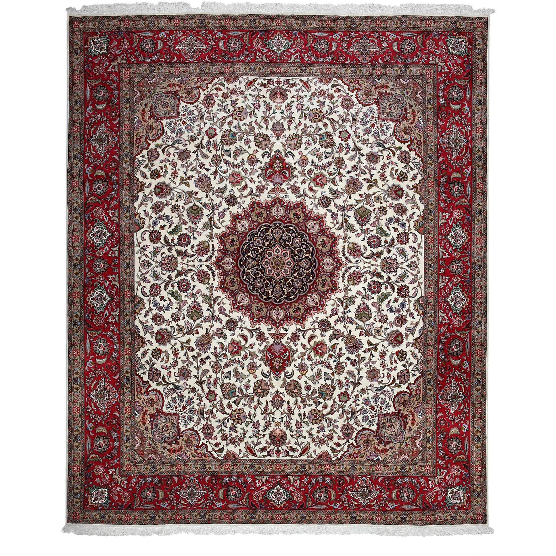 Madirut Red/White Wool Hand-knotted Oriental Area Rug (8'2 x 9'10)