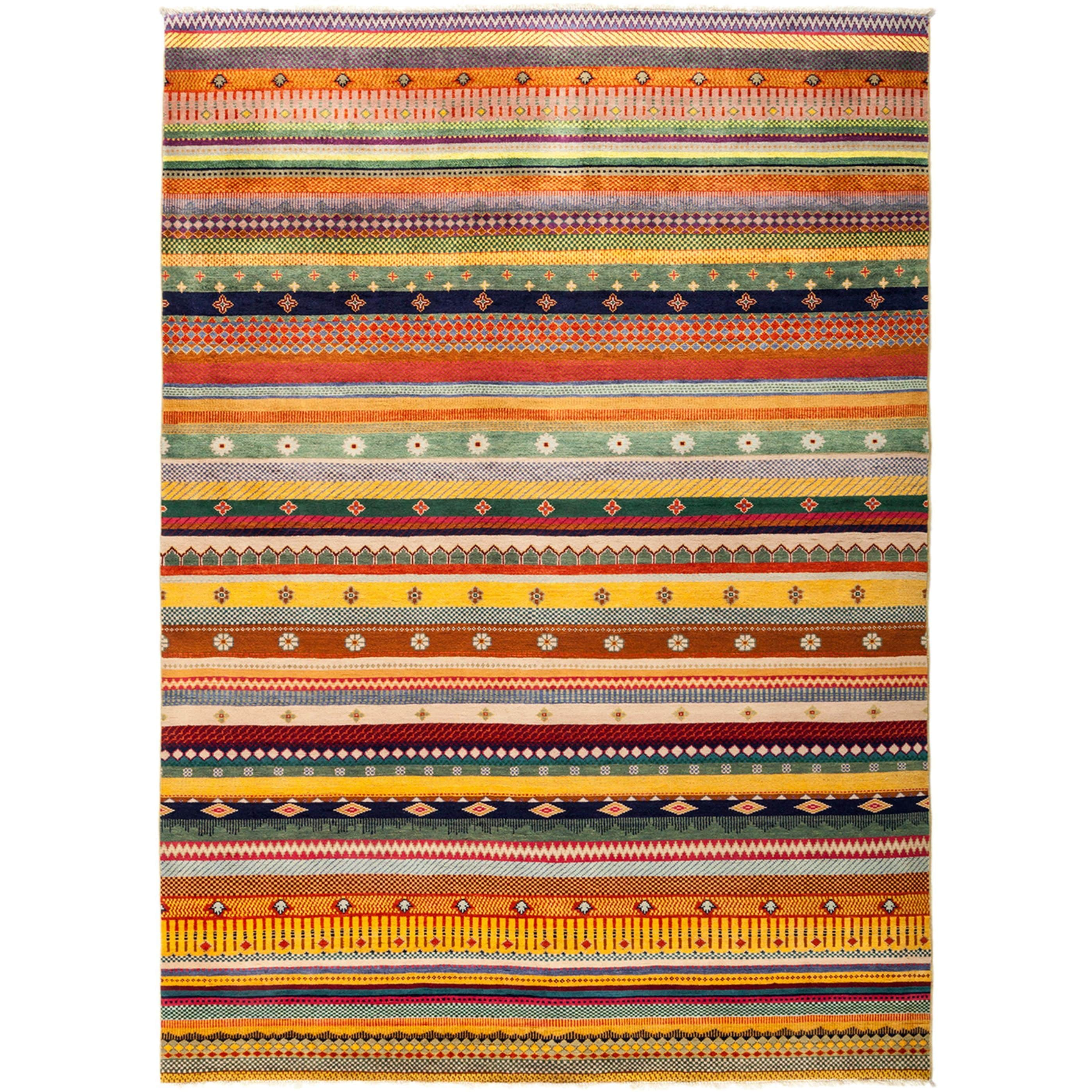 Huzuge Hand Knotted Area Rug - Multi