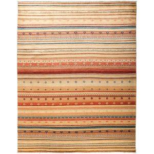 Riyarga Hand-knotted Beige Wool Area Rug (8' x 10'1)