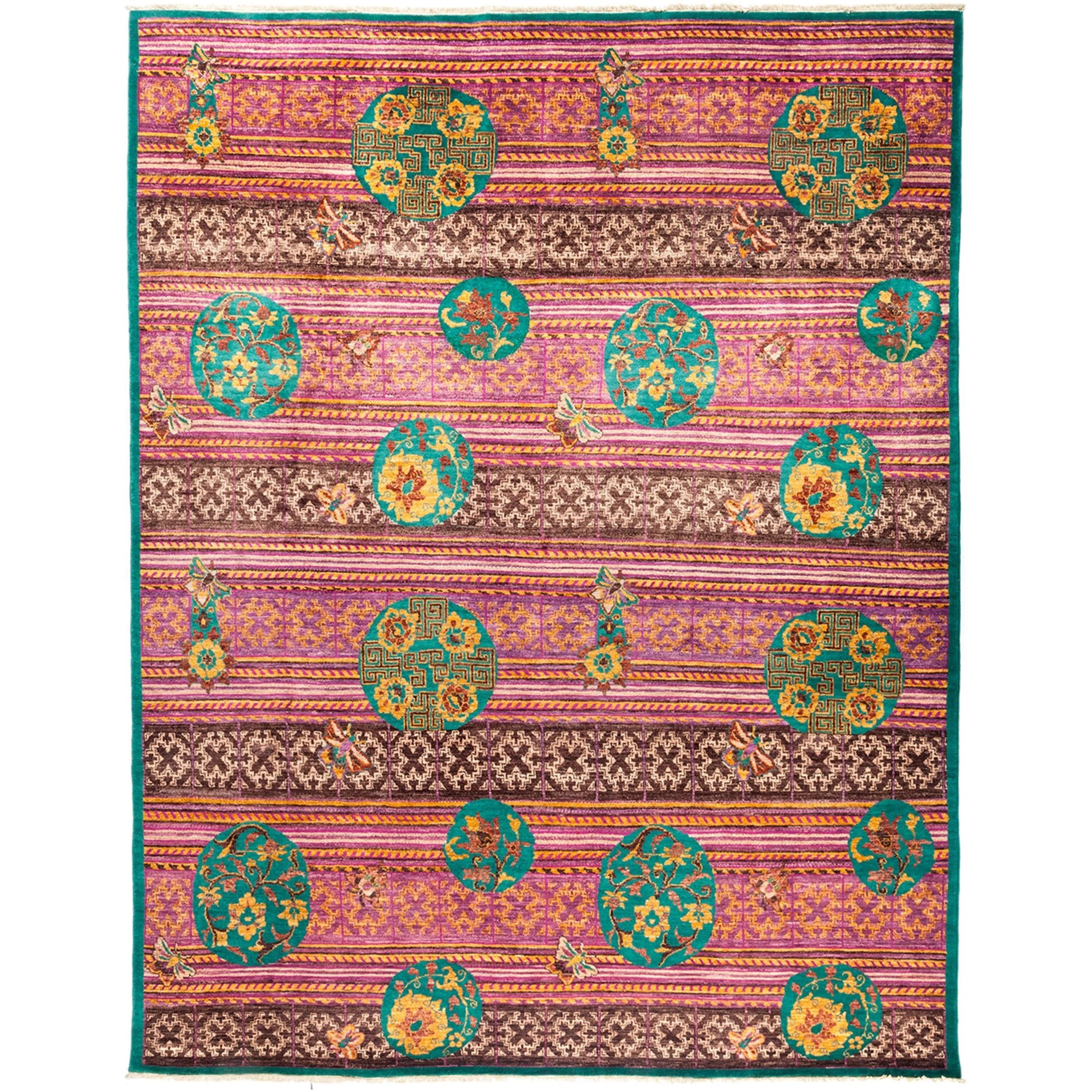 Yaden Pink Wool Hand-kKnotted Area Rug (8'1 x 10'3)
