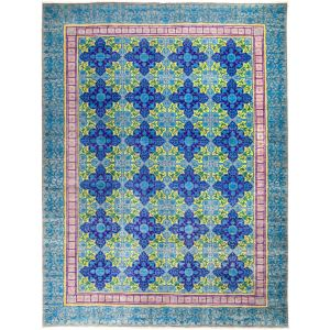 Jubakhwah Hand-knotted Blue Wool Area Rug - 9'1 x 12'1