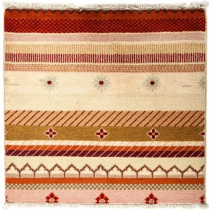 Badesun Beige/Red Wool Hand-knotted Striped Area Rug (2'1 x 2'1) - Multi