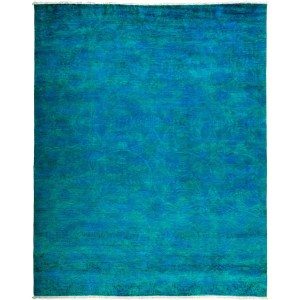 Overdyed Hillatha Hand-knotted Blue Wool Area Rug (8'2 x 10'2)