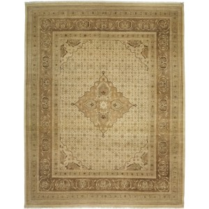 Golbas Beige Wool Hand-knotted Area Rug (8'3 x 10'5)