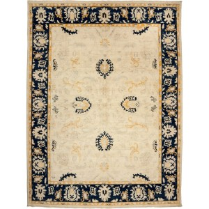 Jalajh Ivory Wool Hand-knotted Area Rug (8'10 x 11'10)