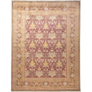 Dhutif Beige/Red Wool Hand Knotted Area Rug (9'1 x 11'9)