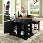 Coventry Drop Leaf Breakfast Bar Top Kitchen Island In Black Finish With 24 Black Upholstered Square Seat Stools