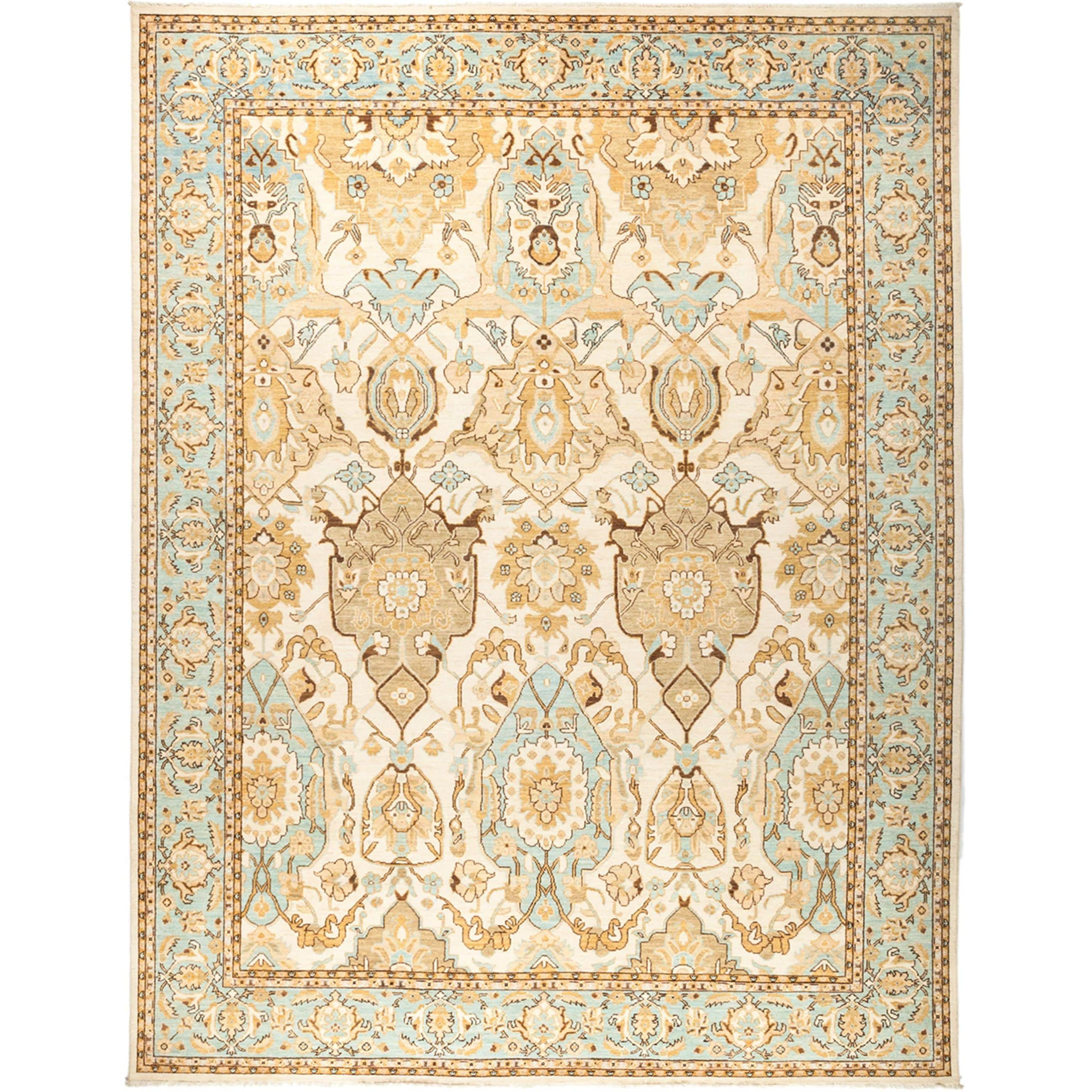 Didisil Oriental Beige Wool Hand-knotted Area Rug (9'2x11'10)