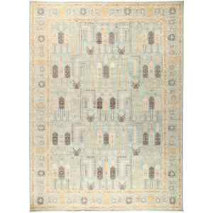 Deimanah Hand-knotted Blue Wool Area Rug (9'1x12'3)