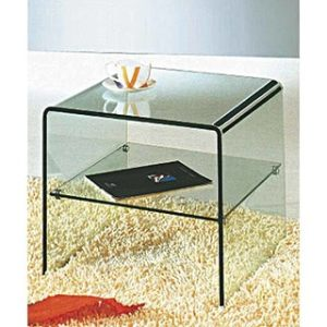 Creative Images International Glass Collection Clear Bent Glass Square End Table With Shelf