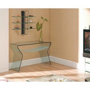 Creative Images International Glass Collection Bent Glass Console Table with Frosted Shelf
