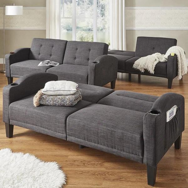 best memory foam sleeper sofas wooden sofa bed designs india shop dominic dark grey linen cup holder futon inspire ...