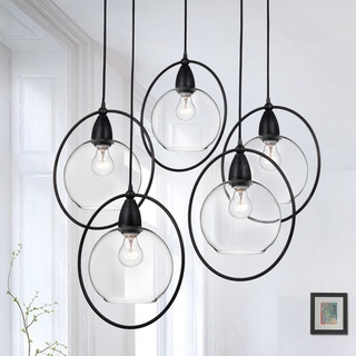 Luna Antique Black 5 Light Clear Glass Globe Iron Loop Pendant Chandelier