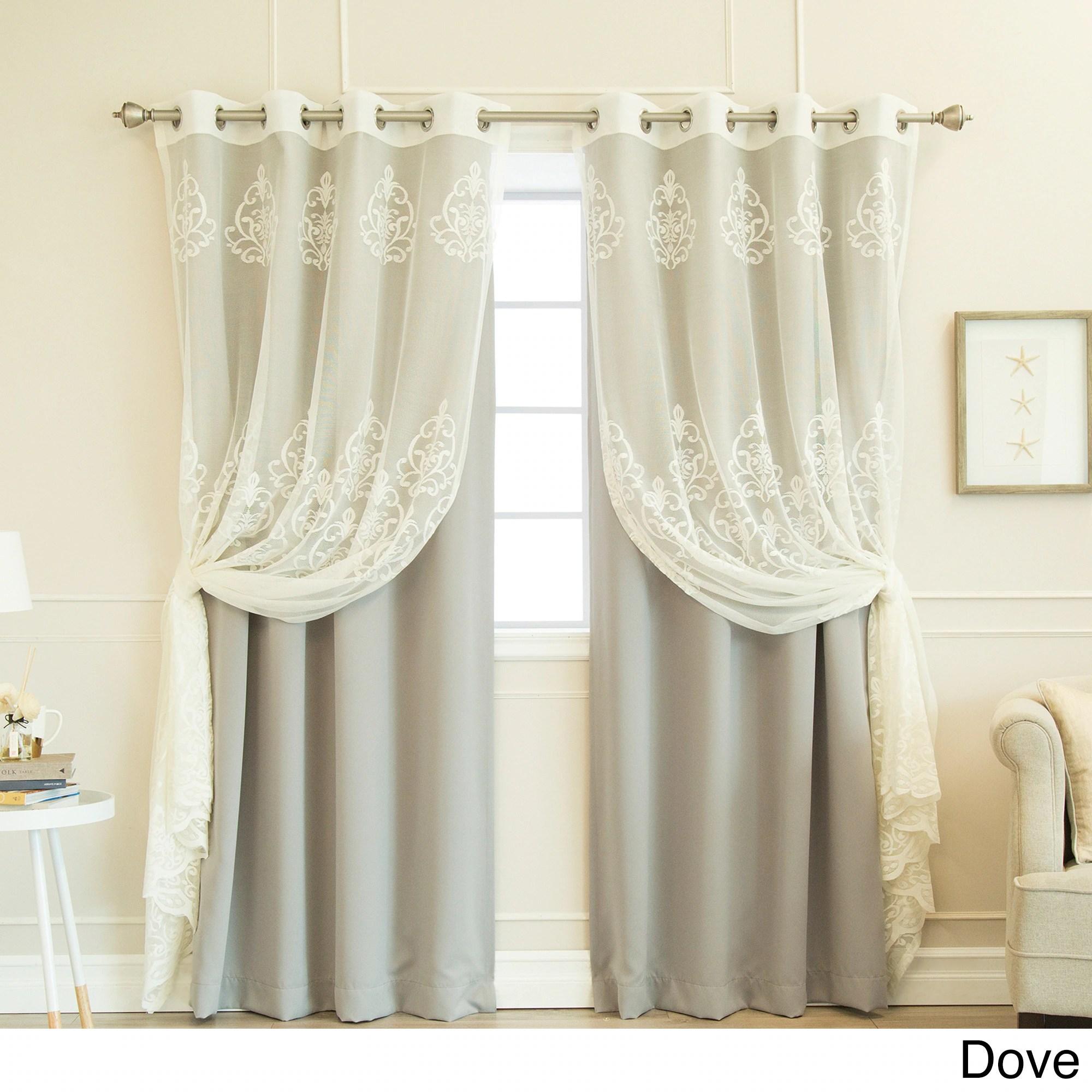 aurora home mix match agatha sheer and blackout 4 piece curtain set