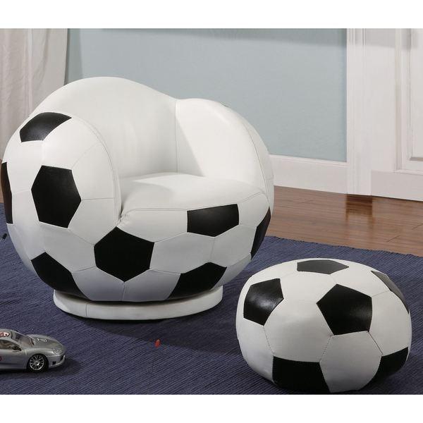 Shop Kids Soccer Ball Design Chair and Ottoman  Free