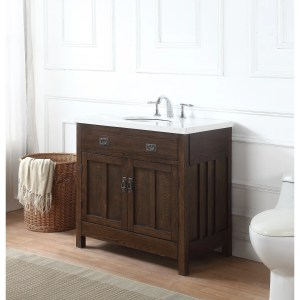 Richmond Bath Vanity in Antique Oak with Grey and White Marble Top