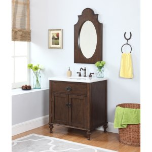 Huntington Bath Vanity in Antique Oak with Grey and White Marble Top