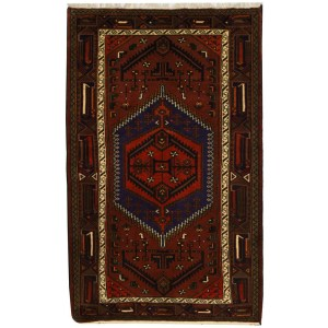 Handmade Herat Oriental Persian Tribal Hamadan Wool Rug (Iran) - 4'4 x 7'