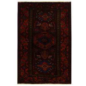 Handmade Herat Oriental Persian Tribal Hamadan Wool Rug (Iran) - 4'8 x 6'11