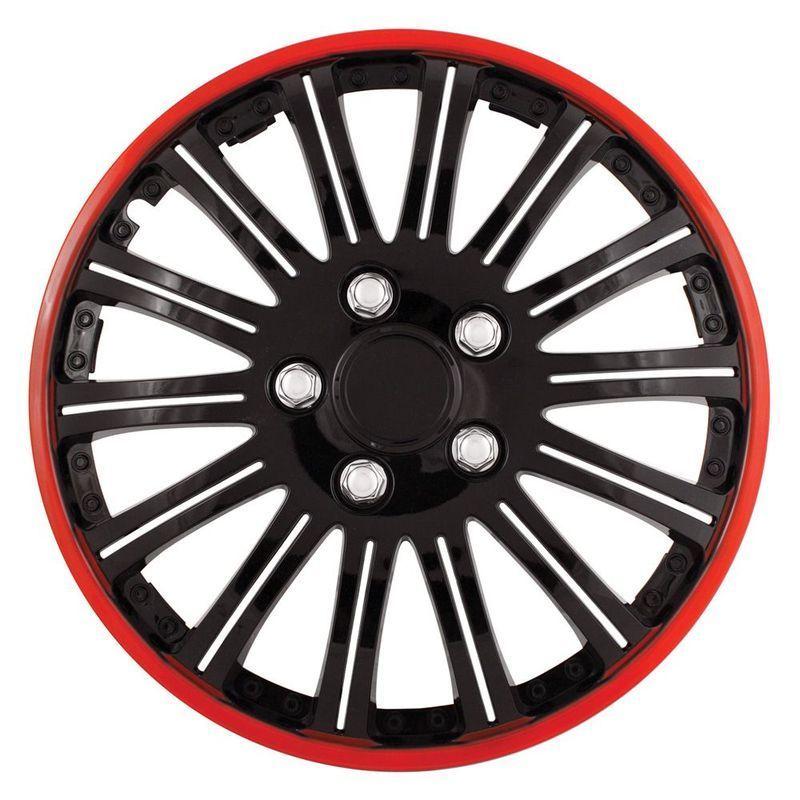Pilot Automotive 4-piece Set Cobra Black Chrome With Red Accent 16-inch Wheel Cover
