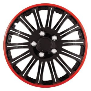Pilot Automotive 4-piece Set Cobra Black Chrome With Red Accent 16-inch Wheel Cover