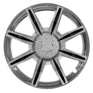 Pilot Automotive 4-piece Set 14-inch Chrome Wheel Cover 8 Spoke with Black Inserts