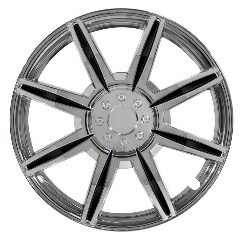 Pilot Automotive 4-piece Set 16-inch Chrome Wheel Cover 8 Spoke with Black Inserts
