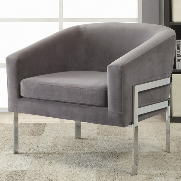 Contemporary Sleek Barrel Design Grey Accent Chair  Free