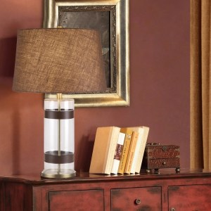 """Catalina Maxwell 29"""" 3-Way Cylinder Clear Glass and Faux Leather Table Lamp"""