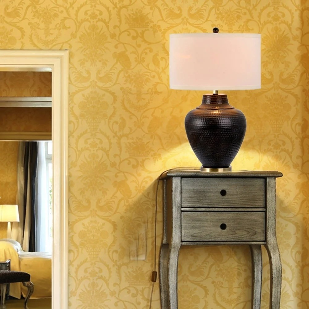 """Catalina Pembroke 27"""" 3-Way Hammered Oil Rubbed Bronze Metal Table Lamp"""