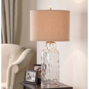 """Catalina Ollie 29"""" 3-Way Clear Dimpled Glass Table Lamp"""
