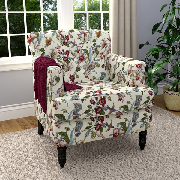 floral arm chair target desks and chairs shop handy living simona multicolor linen armchair on sale