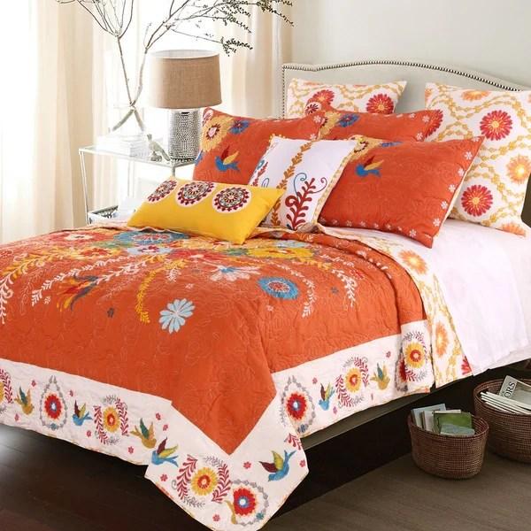 Shop Topanga Bohemian Floral Orange Quilt Set  Free