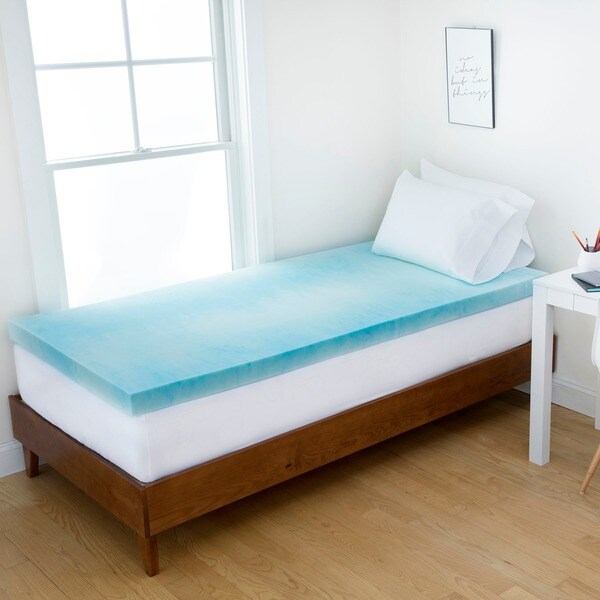 Authentic Comfort Dorm 3 Inch Gel Swirl Memory Foam Mattress Topper