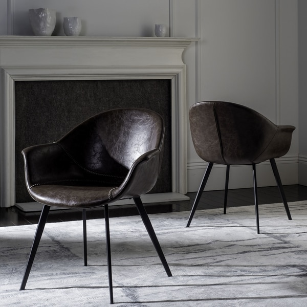 leather dining chairs modern inflatable chair shop safavieh dublin mid century tub chairdark brown black