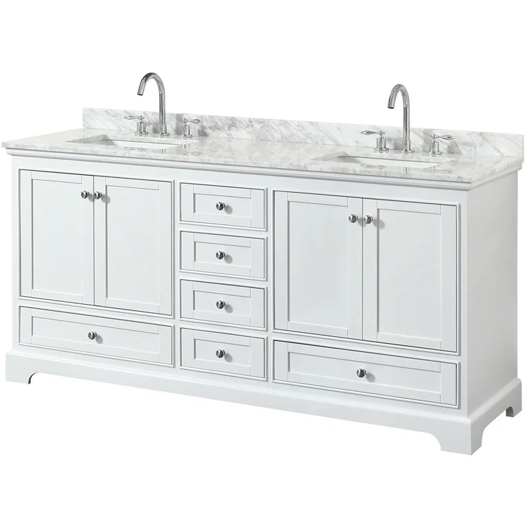 wyndham collection 72 double bathroom vanity in white white carrara marble countertop square undermount sinks no mirror