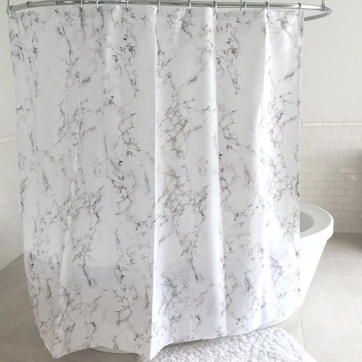Marble Fabric Shower Curtain And Hooks Set Or Separates Overstock 16343069
