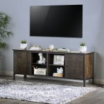 Home Garden Big Screen Tv Stand Rustic Weathered Console Table 70 Inch Media Storage Shelves Tv Stands