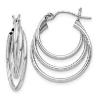 Shop 14 Karat White Gold Triple Hoop Earrings - Free ...