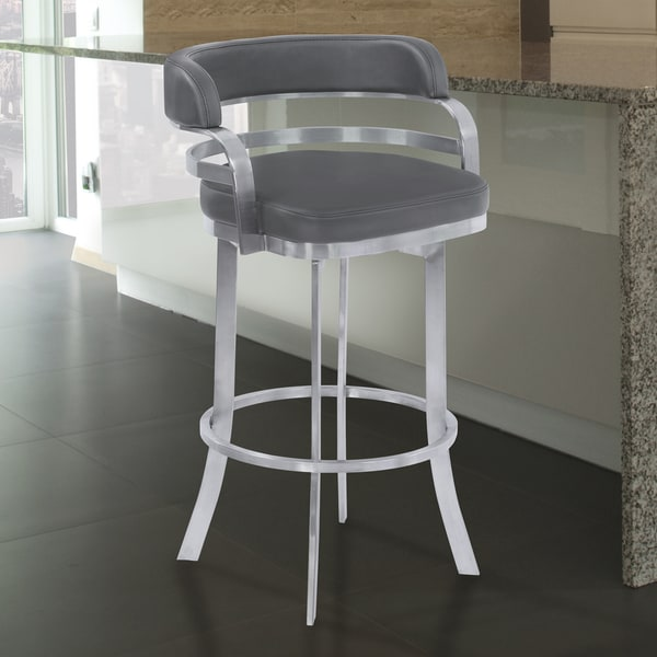 Shop Armen Living Prinz Grey Faux Leather Stainless Steel