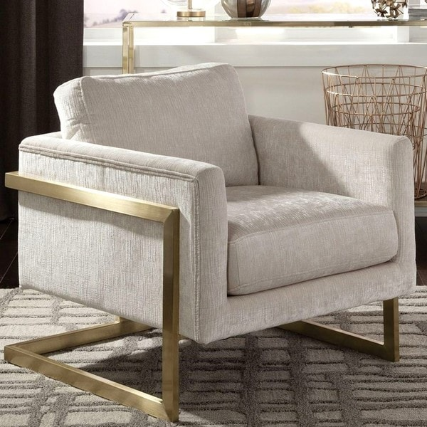 modern accent chairs beach chair cover shop living room floating design with brushed brass frame