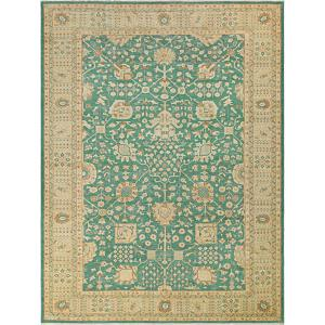 Arshs Fine Rugs Kafkaz Lora Sun-faded Green/Tan Wool Hand-knotted Area Rug - 10' x 14'