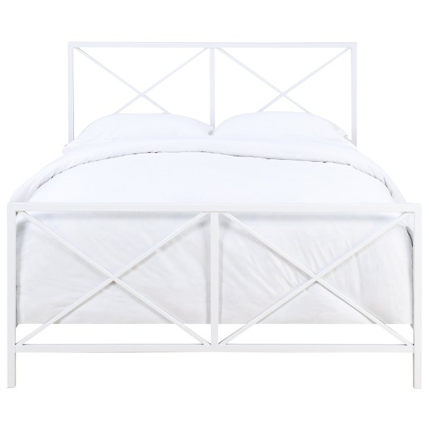 White Metal All-in-one High-gloss 'X' Patterned Queen Bed